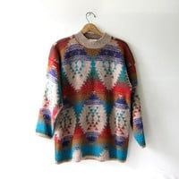 vintage southwestern print sweater. tribal sweater. colorful boho sweater.