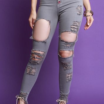 High Waisted Button Fly Distressed Skinny Denim Jeans