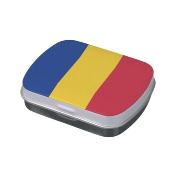 Patriotic candy tins with Flag of Romania