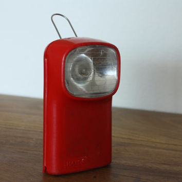 Lovely French red plastic vintage flashlight made by MAZDA