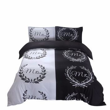 Black and White Bedding Set Mr and Mrs Bedding Queen Bed Set (Mr&Mrs)