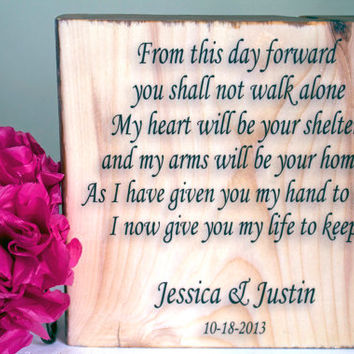Customized Wedding Quote on Solid Wood, Anniversary Gift, Home Decor, Wedding Song, Lyrics, Date, Husband and Wife, Vows, Text