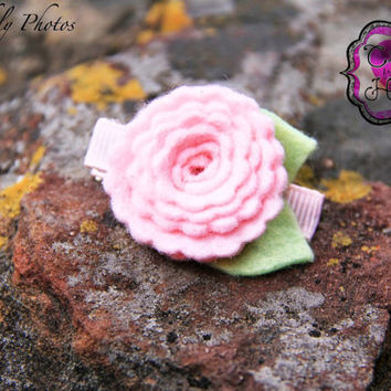 Felt Flower - Felt Hair Clippie - Pink with Light Green Leaves Hair Clip -USA made Wool blend felt - Newborn Baby Children Teen Adult