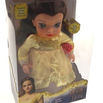 """Disney Beauty And The Beast Baby Belle Doll Rose Rattle Yellow Dress Large 12"""""""