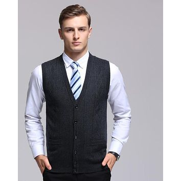 Men's V-neck Wool Cardigan Pattern Male Knitted Sleeveless Solid Color Vest Sweater Formal Casual Vest Cardigan