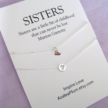 Sisters Necklace. Birthday Gift for Sister. 2 Sisters. SISTER jewelry. Bridal Party.  Maid of honor Sister. Sisters Necklace