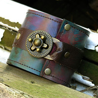 Steampunk Unisex Leather Cuff with Secret Pocket -- Designer's Mix No. 28