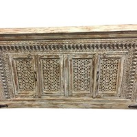 Antique Natural Whitewashed Sideboard Cabinet TV Console Farmhouse Distressed wood Hand Carved Eclectic Decor