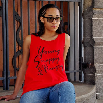 Young, Scrappy and Hungry Tank Top. Musical Theater Shirt, Fandom Shirt. Unisex Sizing.