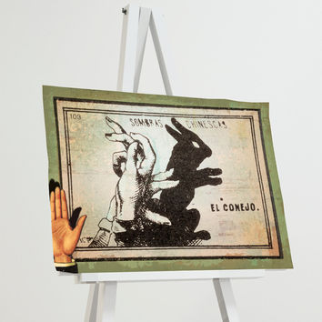 Mexican Shadow Puppet Show Print El Conejo Decor Giclee Print on Cotton Canvas and Paper Canvas Poster Home Wall Art
