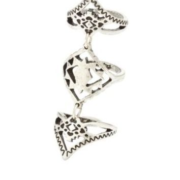 Silver Aztec Cut-Out Chained Ring by Charlotte Russe