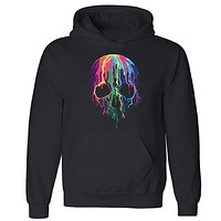 Zexpa Apparel™ Melting Skull Neon Unisex Hoodie Colorful Day Of Dead Muertos Hooded Sweatshirt
