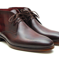 PAUL PARKMAN Men's Chukka Leather Bordeaux & Brown Boots