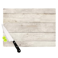 "Susan Sanders ""White Wash Wood"" Beige White Cutting Board"