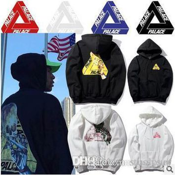 New Arrival PALACE Hoodies Skull Printed Fleece Hoodies Triangle Black White Hooded Sweatshirts Tide Design West Style Men's Hoodies