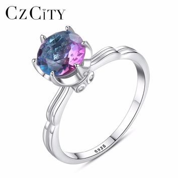 CZCITY Genuine 925 Sterling Silver Rainbow Fire Mystic Topaz Solid Ring For Women Jewelry Best Gift Fine Jewelry Engagement Ring