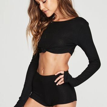 LONG SLEEVE TIE FRONT RIB TOP BLACK