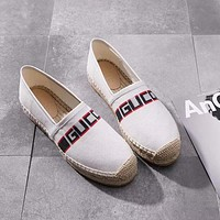 Gucci espadrilles slip on Shoes ¡°Beige Red&Black LOGO¡± 451198 K6D40 8684