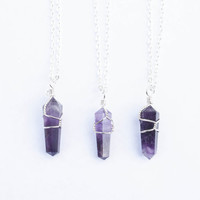Amethyst Point Wrap Pendant Necklace Crystal Quartz Necklace Gemstone Necklace Purple Quartz Reiki Charged