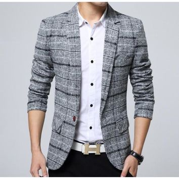 Mens Mix Plaid Blazer