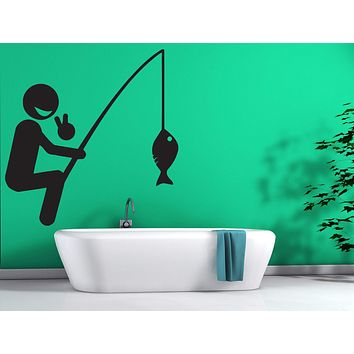 Vinyl Decal Wall Stickers Cheerful Happy Fisherman Be Caught a Fish Unique Gift (n443)