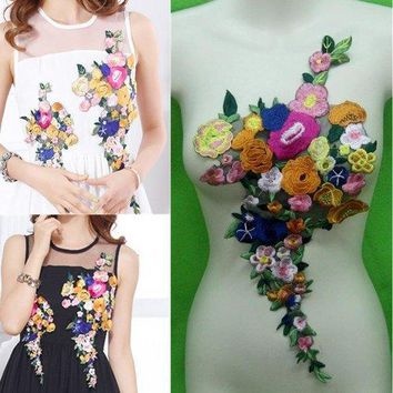 Rose Flower Collar Sew On Patch Cute Applique Badge Embroidered Apparel Accessories Patches