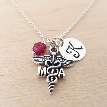 Medical Assistant Necklace - Nurse Necklace -  Initial Necklace - Personalized Jewelry - Birthstone Necklace - Gift for Her - Nurse Gift