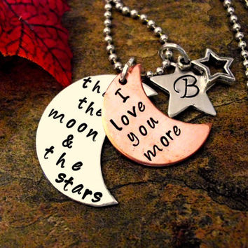 Moon Necklace, Sun Necklace, Moon and Star Necklace, I Love You More Than the Moon and the Stars, Hand Stamped Jewelry