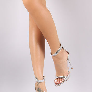 Mirror Metallic Lucite Band Open Toe Stiletto Heel