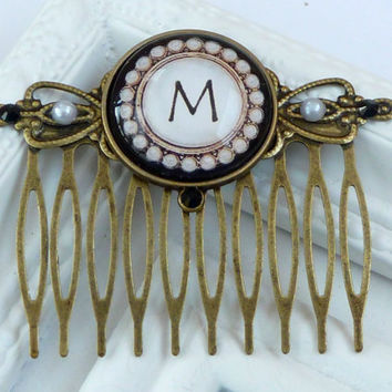 Noble Monogram hair comb in white bronze, customizable, antique hair comb