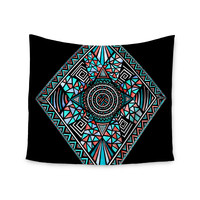 """Pom Graphic Design """"Geo Glass"""" Teal Black Wall Tapestry"""