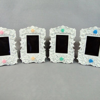 Custom White Chalkboard or Printed Number Frames with Rose Color of Your Choice Vintage Baroque Style Photo Frame