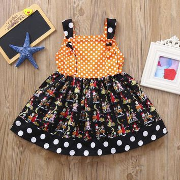 2018 Halloween Infant Toddler baby girl clothing  Pumpkin Bow Party Dress Clothes Dresses cute newborn baby girl clothes