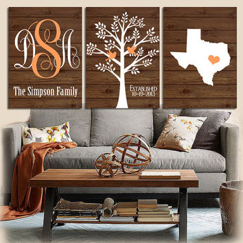 Family Tree State Prints Monogram Wood Effect Bedroom Wall Art Initials  Wedding Gift Last Name Date
