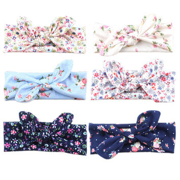 Fashion Infant Baby Flower Turban Rabbit Ear Headband BowKnot Hair band Head Wrap 2016 Hot Style