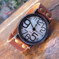 Irregular Digital Dial Retro Leather Watch