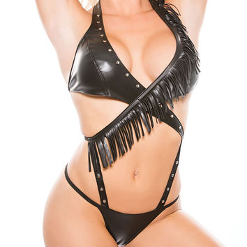 Leather Halter Teddy Lingerie