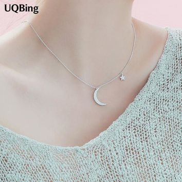 Korea 925 Sterling Silver Moon Star Necklaces&Pendants Silver Chain Choker Necklaces Jewelry Collar Colar Free Shipping