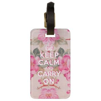 Girly keep calm..Vintage pink elegant floral roses Tag For Luggage