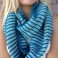 Teal Striped Knit Infinity Scarf