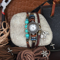 Handmade Friendship Watch with Turquoise Beads and Love Birds Charm