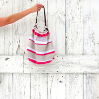 Canvas Boho Bag- upcycled American Eagle hobo purse- striped khaki and coral indie fashion- eco fashion accessories