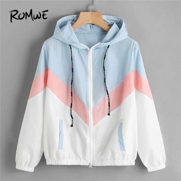 Trendy ROMWE Color Block Chevron Zip Up Jacket Drawstring Hooded Ladies Coats Spring Autumn Multicolor Casual Sporting Jackets AT_94_13