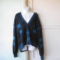 Black/Turquoise '80s Vintage 'Old Man' Cardigan; Men's XL Deep V Neck Slouchy/Grungy Button-Up Sweater; U.S. Shipping Included