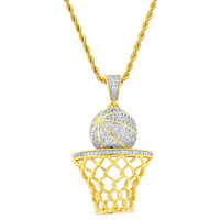 "Hip Hop Designer Iced out Basket Ball Pendant 14k Gold Finish with 24"" Rope Chain"