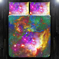 Stars Nebula Outer Space Galaxy Duvet Cover Bedding Queen Size King Twin Blanket Sheet Full Double Comforter Toddler Daybed Kid Teen Dorm