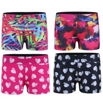 Kids Sport Short Girl Wide Elastic Waistband Printed Shorts Girls Activewear Dance Badminton Shorts for the Gym Bottoms Pants