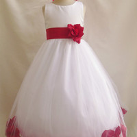 Flower Girl Dress Rose Petal White with Red for Easter Wedding Bridesmaid