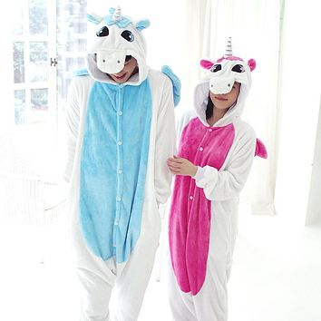 Unisex Children Adult Anime Animal Onesuit Party Costume Flannel Pajamas Pink/Blue Unicorn Cosplay All In One Jumpsuits