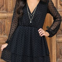 Own The Night Black Mesh Polka Dot Dress
